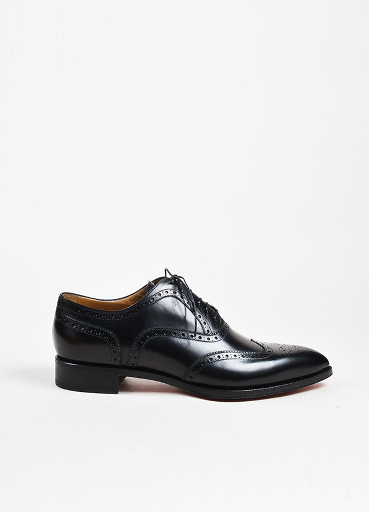 "Men's Christian Louboutin Black Longwing Brogue ""New Platers"" Shoes Sideview"