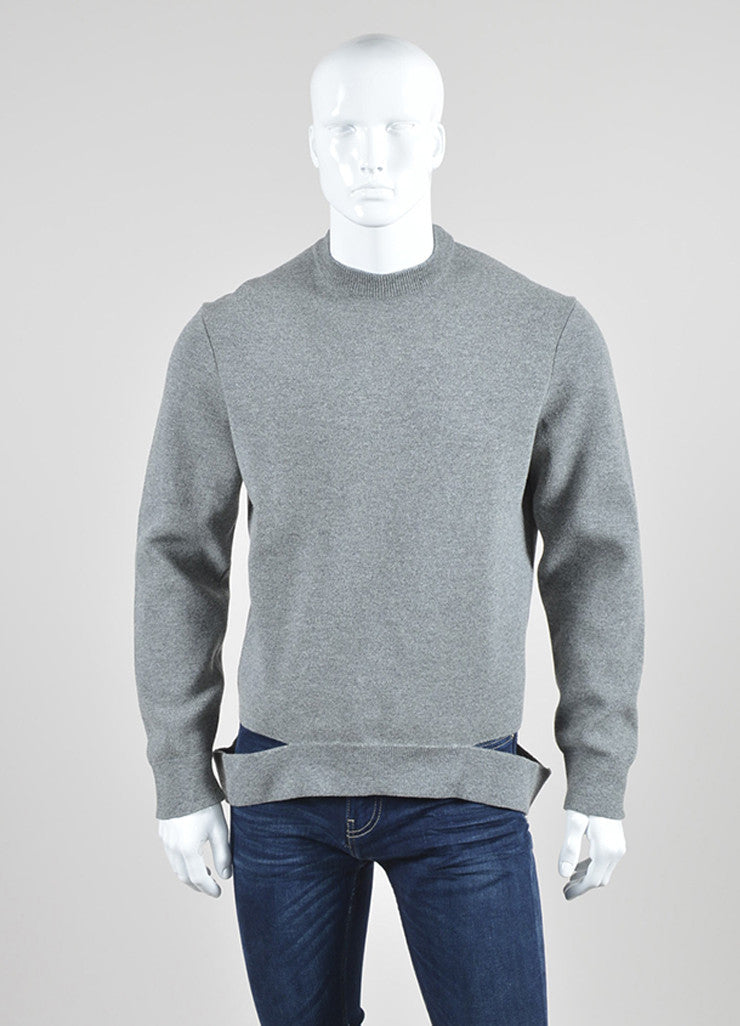 Men's Grey Givenchy Wool Cut Out Hem Crew Neck Pullover Top Front
