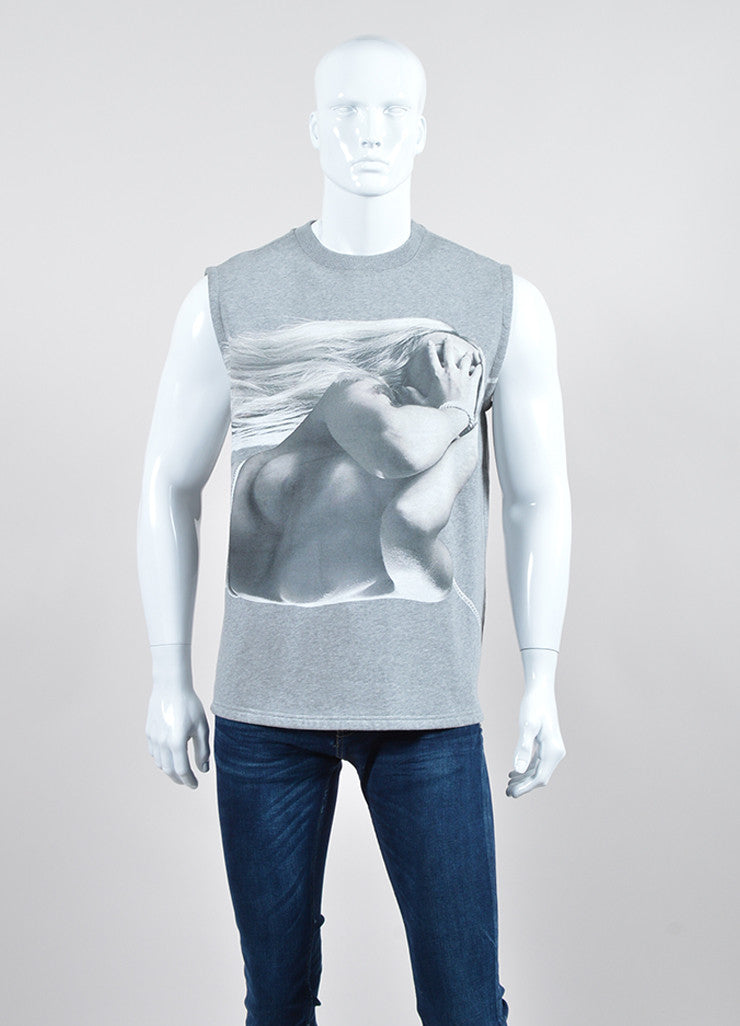 Men's Grey Givenchy Graphic Photo Print Sleeveless Sweatshirt Front