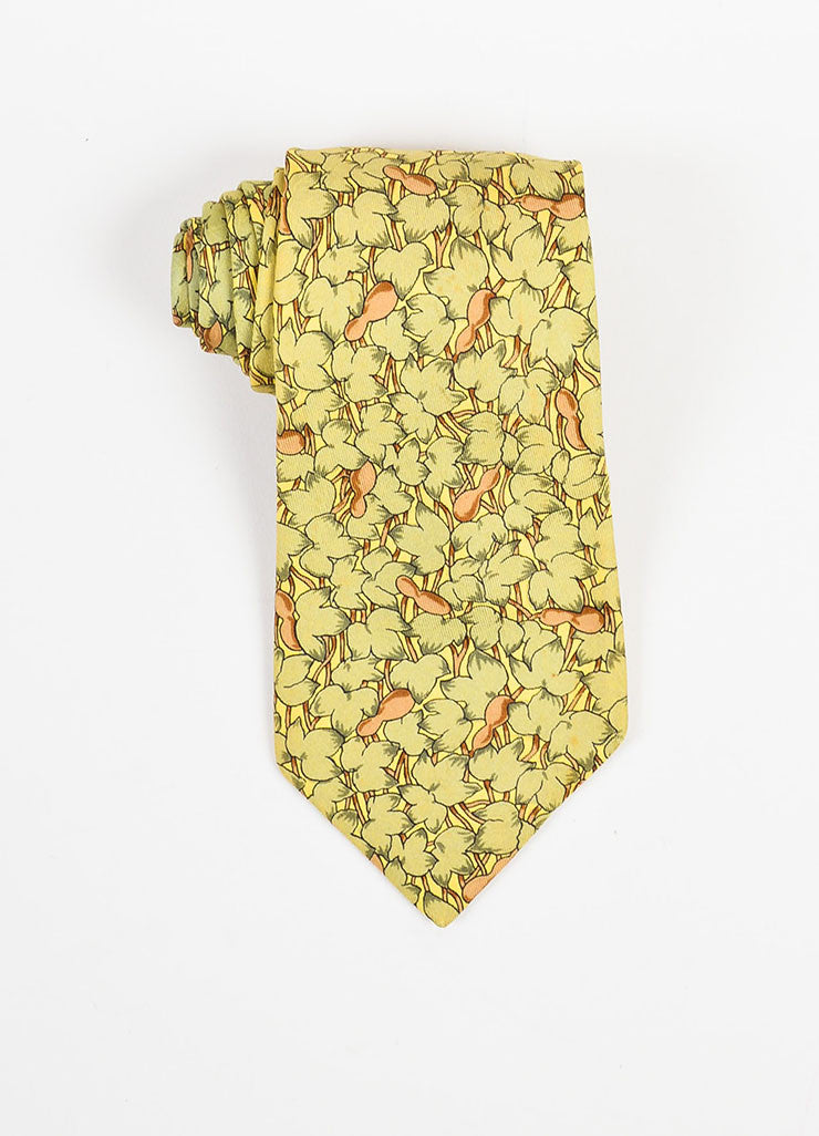 Men's Hermes Green, Brown, and Yellow Silk Leaf Printed Neck Tie Detail