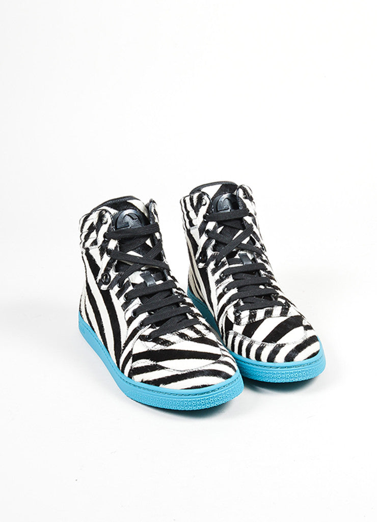 "Teal Zebra Stripe Pony Hair Gucci ""Coda"" High Top Sneakers Frontview"
