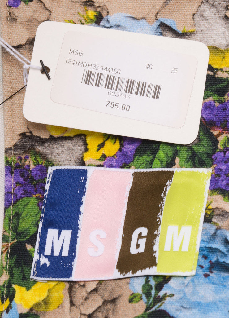 MSGM New With Tags Nude, Purple, and Blue Cotton Floral Printed Biker Jacket Brand