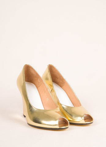 Maison Martin Margiela Gold Patent Leather Metallic Peep Toe Wedge Pumps Frontview
