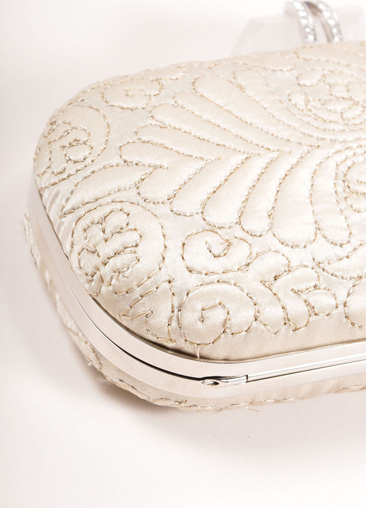 "Marchesa Beige ""Oyster"" Embroidered Satin Quartz Latch ""Lily"" Clutch Bag Detail"