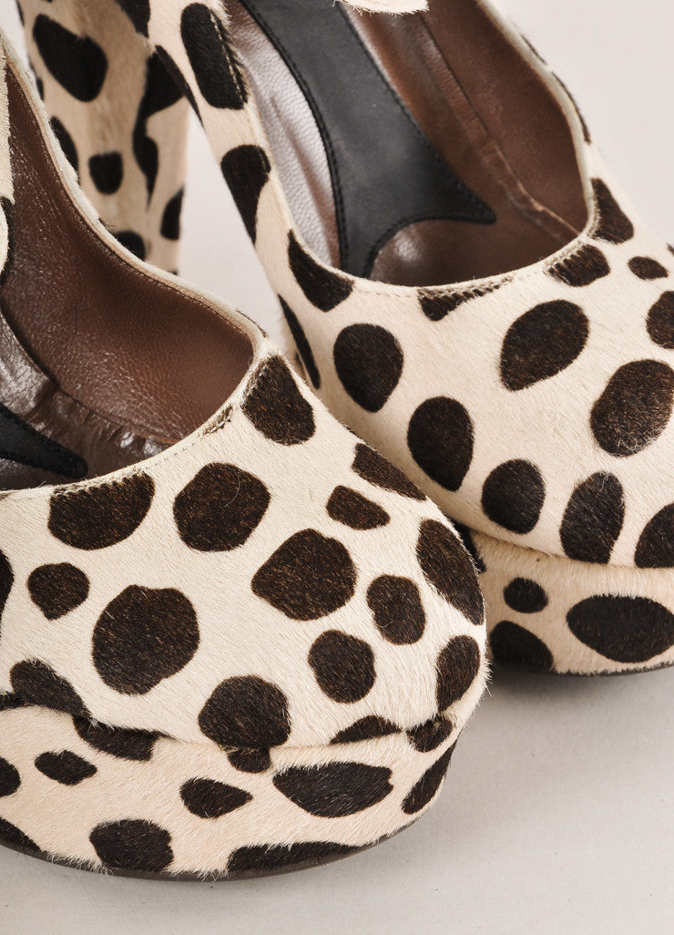 Marni Brown and Cream Spotted Pony Hair Platform Mary Jane Pumps Detail