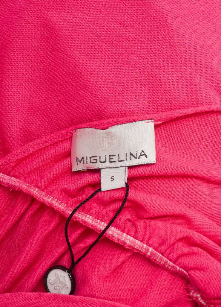 "Miguelina New With Tags Pink ""Elisa"" V-Neck Jersey Maxi Dress Brand"