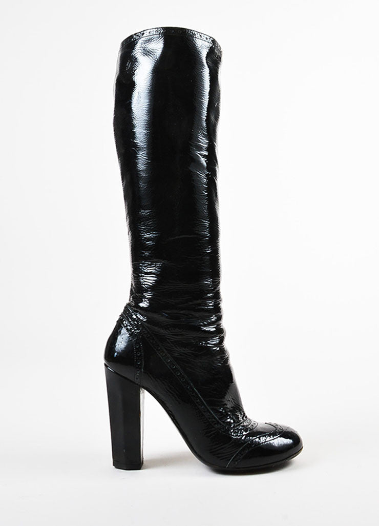 Miu Miu Black Crinkled Patent Leather Perforated Tall Boots Side