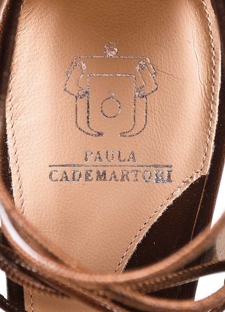"Paula Cademartori  Brown and White Leather Suede ""Lotus"" Sandals Brand"