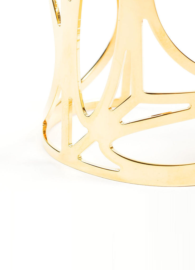 Gold Toned Brass Pierre Hardy Geometric Cut Out Cuff Bracelet Detail