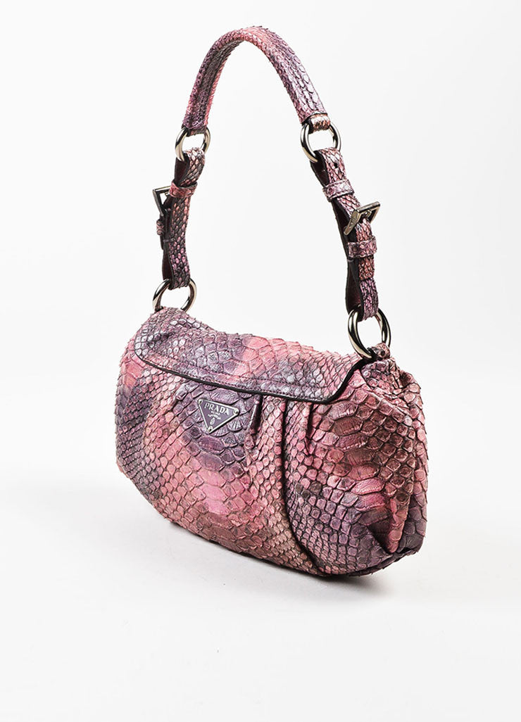 Prada Pink, Purple, and Yellow Python Lizard Trim Push Lock Flap Handbag Sideview