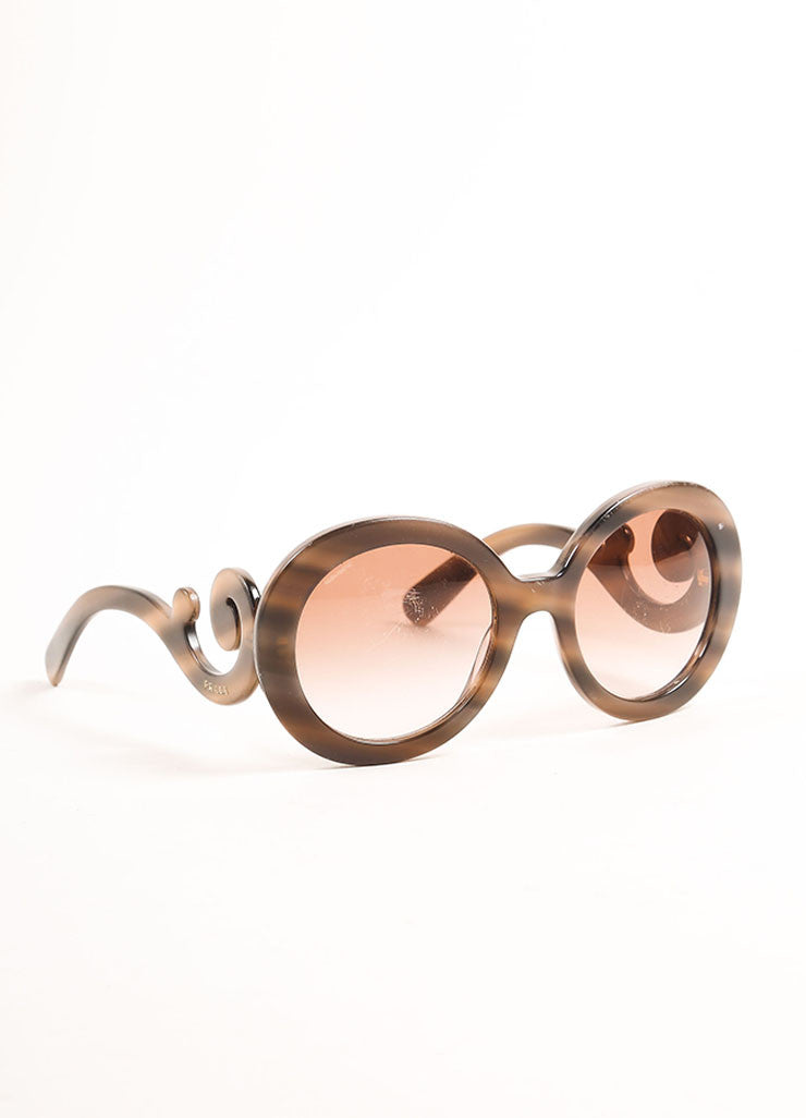 "Prada Taupe and Black Marbled Plastic ""Baroque"" Round Sunglasses Sideview"