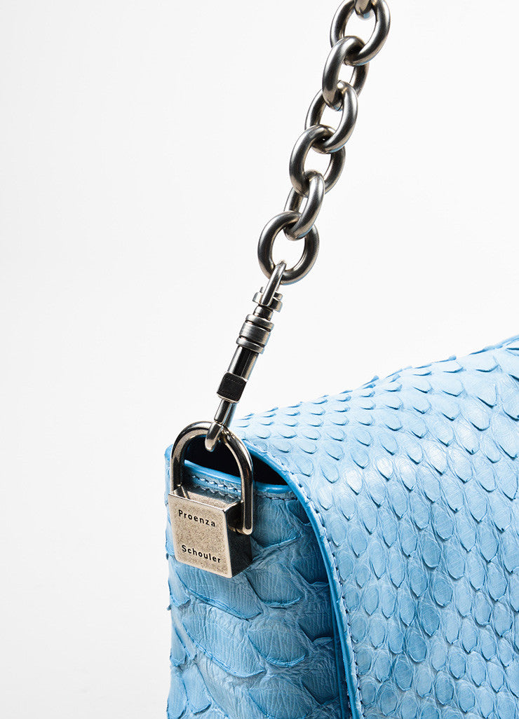 "Proenza Schouler Blue Python Two Tone Chain Shoulder Strap ""Small Courier"" Bag Detail 2"