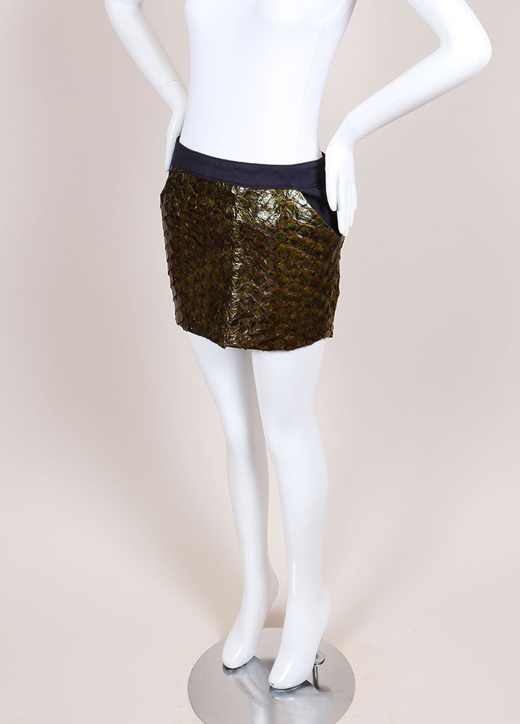Roseanna New With Tags Green and Navy Fish Scale and Cotton Paneled Mini Skirt Sideview