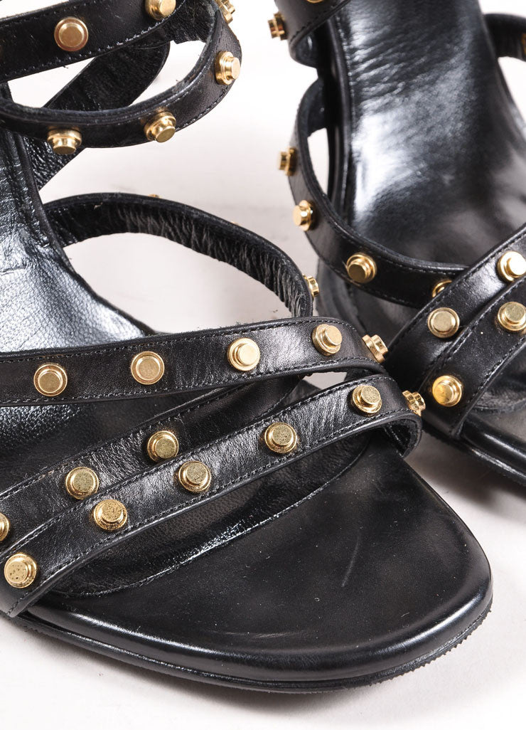 Saint Laurent Black and Gold Studded Leather Strappy Sandals Detail