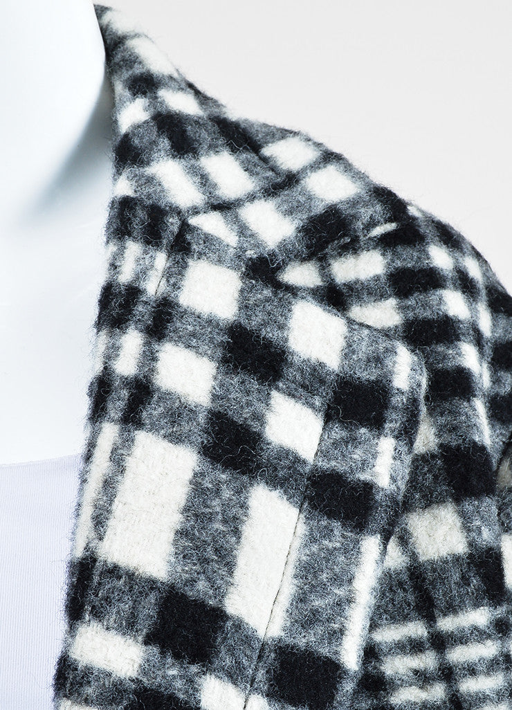 Stella McCartney Black and White Wool Plaid Oversized Pea Coat Detail
