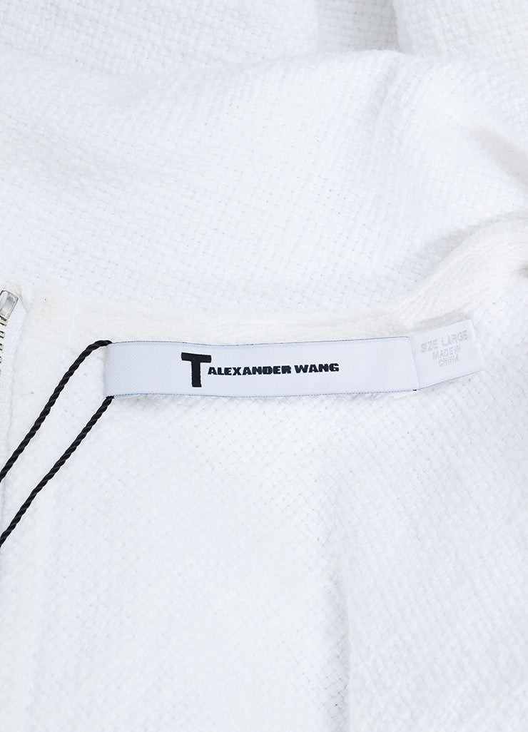 T by Alexander Wang White Woven Cotton Fringe Edge Zip Back Short Sleeve Top Brand
