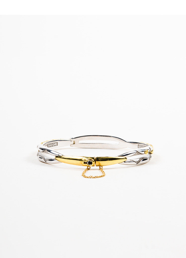 "Tacori Sterling Silver and 18K Gold ""Promise"" Lock and Key Bangle Bracelet Frontview 2"
