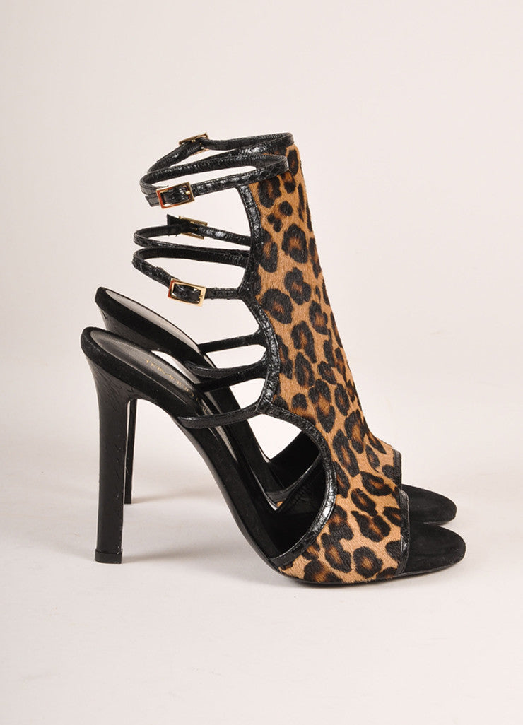 "Tamara Mellon New In Box ""Troublemaker"" Leopard Print Pony Hair Sandal Heels Sideview"
