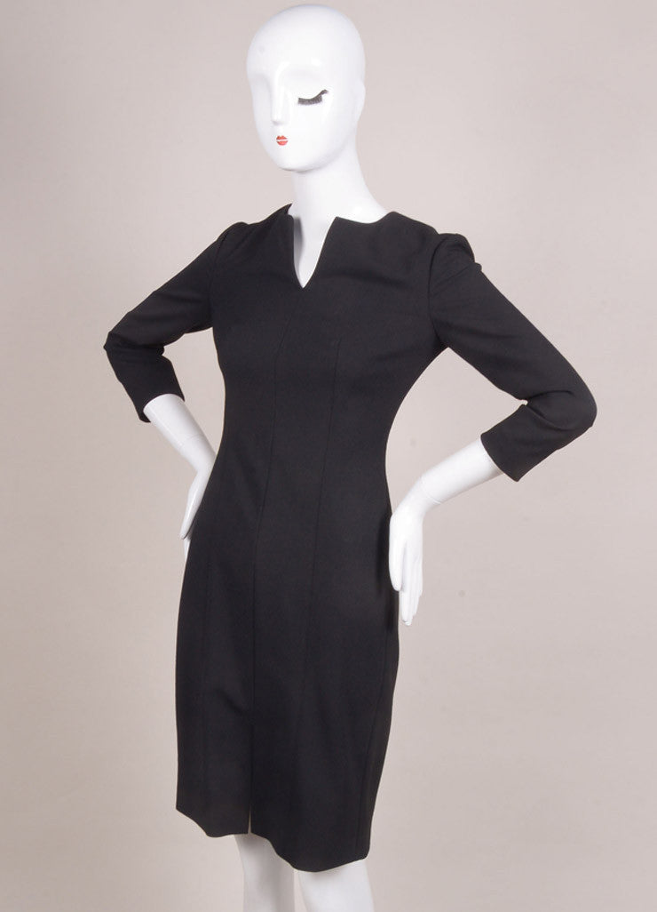 "The Row New With Tags Black Wool Blend Three Quarter Sleeve ""Neroyd"" Sheath Dress Sideview"