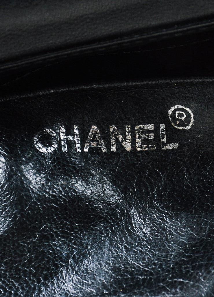 Black Chanel Patent Leather Quilted Top Handle Flap Shoulder Bag Brand