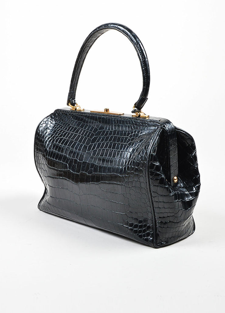 Black Hermes Crocodile Leather Satchel Frame Handbag Sideview