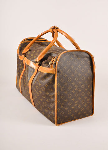 Louis Vuitton Brown Coated Canvas Monogram Hard Case Zip Duffel Bag Sideview
