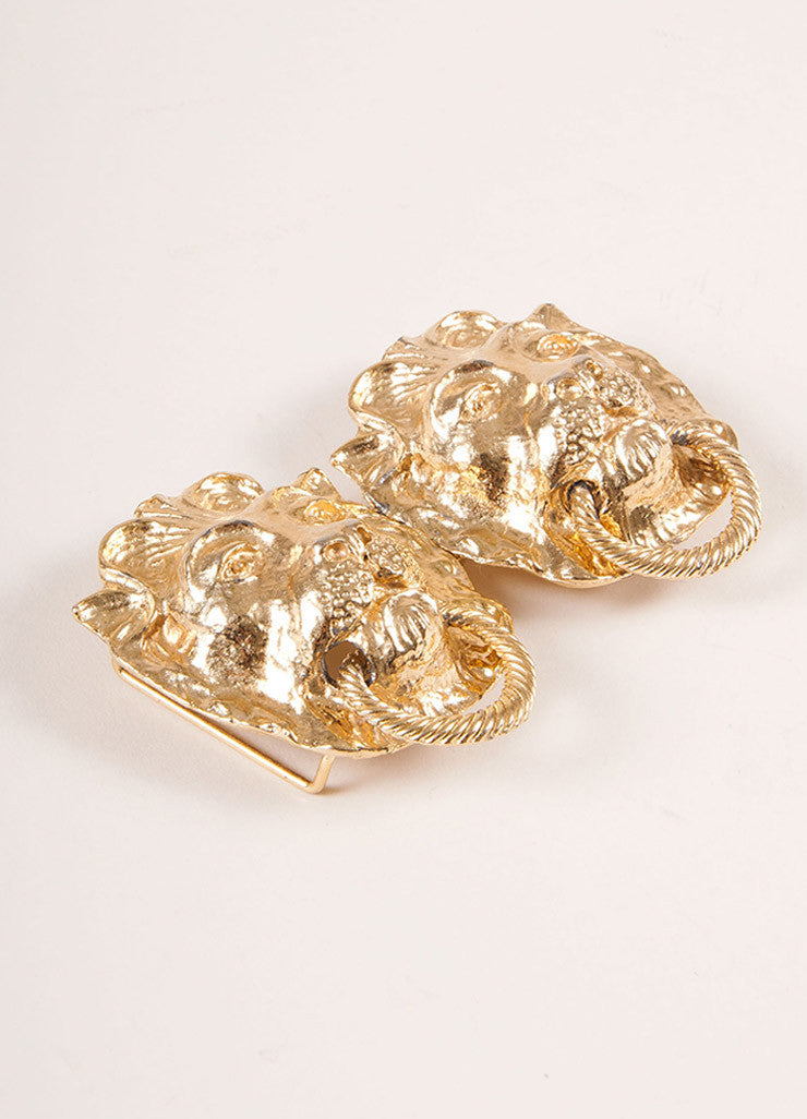 Mimi Gold Toned Lion Head Door Knocker Belt Buckle Sideview