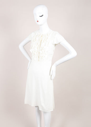 Valentino Cream Cap Sleeve Ruffle and Pintuck Bodice Crepe A-Line Dress Sideview