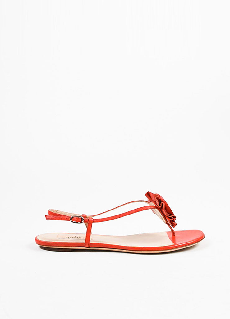 Valentino Garavani Red Leather Rosette Flat Sandals Sideview