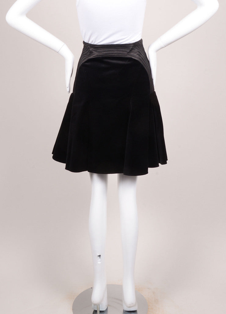 Versace New With Tags Black Velvet Leather Trim Pleated Skirt Backview