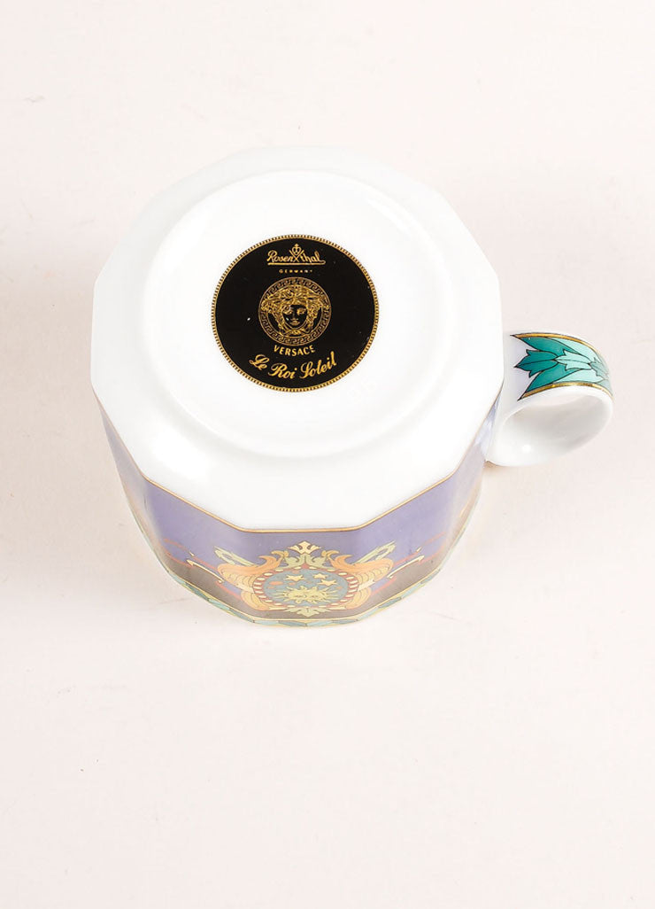 "Versace Rosenthal Multicolor Sun Scroll Print "" Le Roi Soleil"" Small Coffee Cup Bottom View"