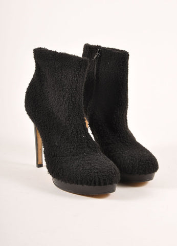 "Viktor & Rolf Black Shearling Platform Heeled ""Wooly"" Ankle Boots Frontview"
