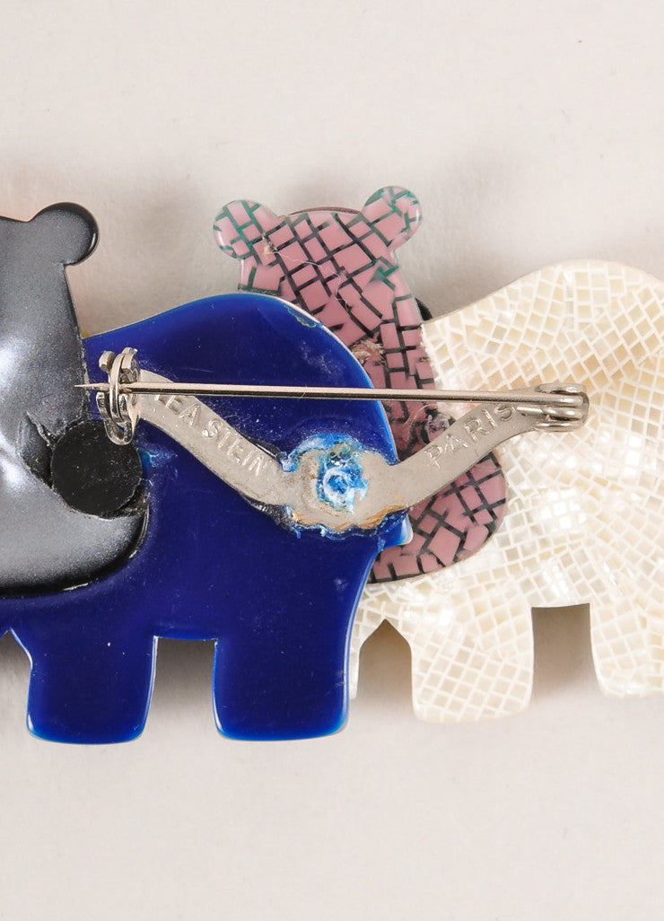 Lea Stein Multicolor Acetate Double Hippo Brooch Closure