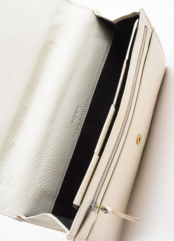 "Yves Saint Laurent Rive Gauche Cream Leather ""Muse Travel Clutch"" Bag Interior"