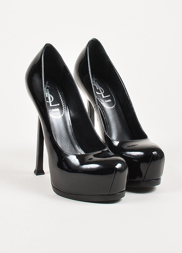 "Yves Saint Laurent Black Patent Leather Platform ""Tribtoo"" Pumps Frontview"