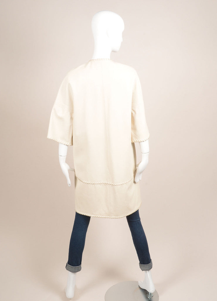 Yves Salomon New With Tags Cream Short Sleeve Open Lace Edged Leather Duster Jacket Backview