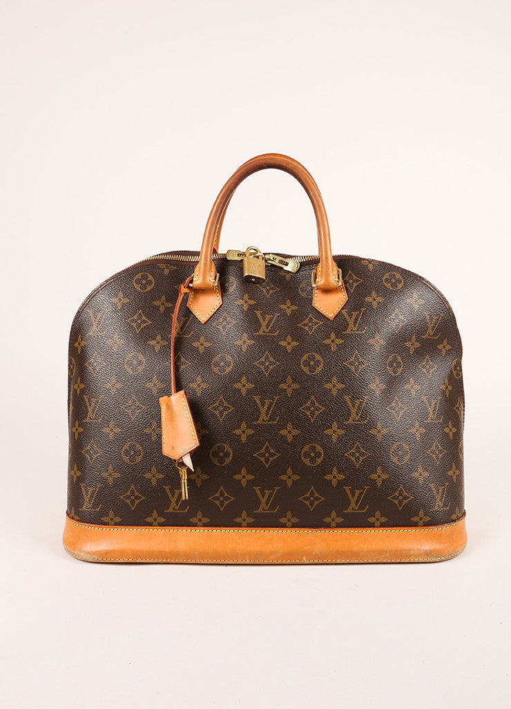 "Louis Vuitton Brown Monogram Canvas and Leather Zip ""Alma GM"" Bag Frontview"