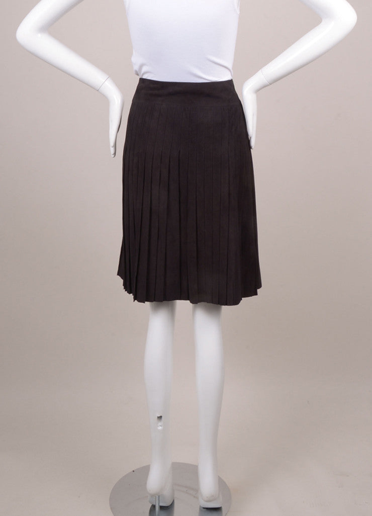 New With Tags Black Suede Pleated Skirt