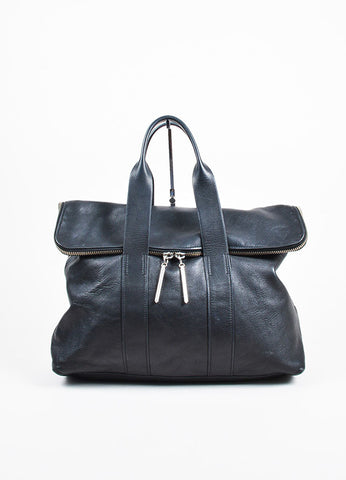 "3.1 Phillip Lim Black Leather Fold Over Silver Toned Zip ""31 Hour"" Bag Frontview"