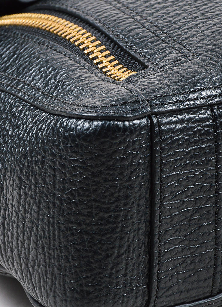 3.1 Phillip Lim Black Textured Leather Pashli Messenger Bag Detail