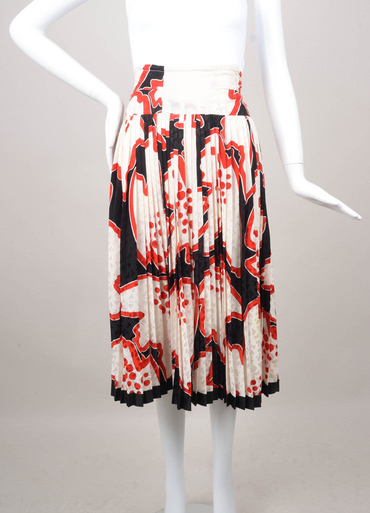 Patterned Pleated Knee Length Skirt