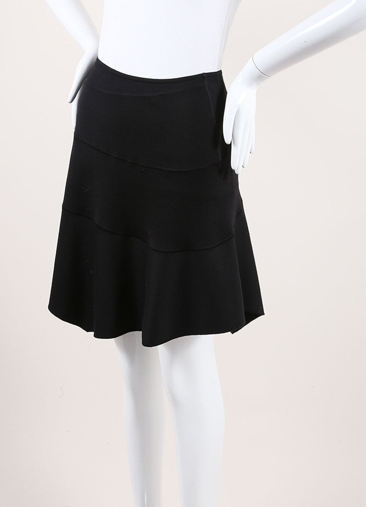 Alaia Black Paneled Wool Knit Asymmetric Hem Wrap Style Skirt Sideview