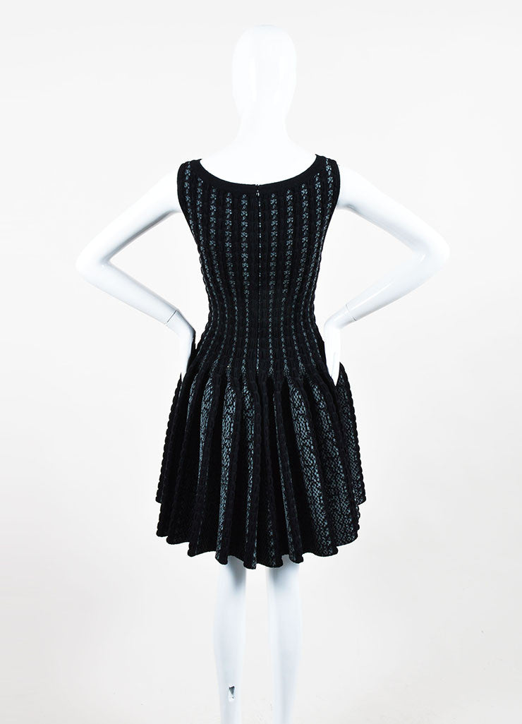 Black and Grey Alaia Wool Knit Python Pattern Sleeveless Fit & Flare Dress Backview