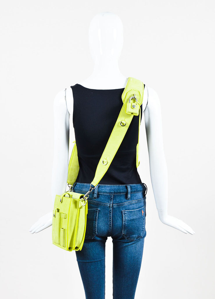 "Alexander Wang Lime Green ""Citrine"" Suede ""Runway Survival Kit"" Bag Backview"