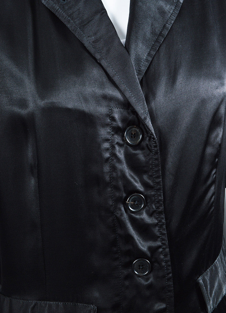 Ann Demeulemeester Black Sateen Cargo Pocket Long Coat Detail