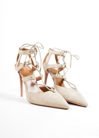 "Beige ""Ash"" Suede Lace Up Aquazzura ""Bel Air"" Pointed Toe Pumps Frontview"