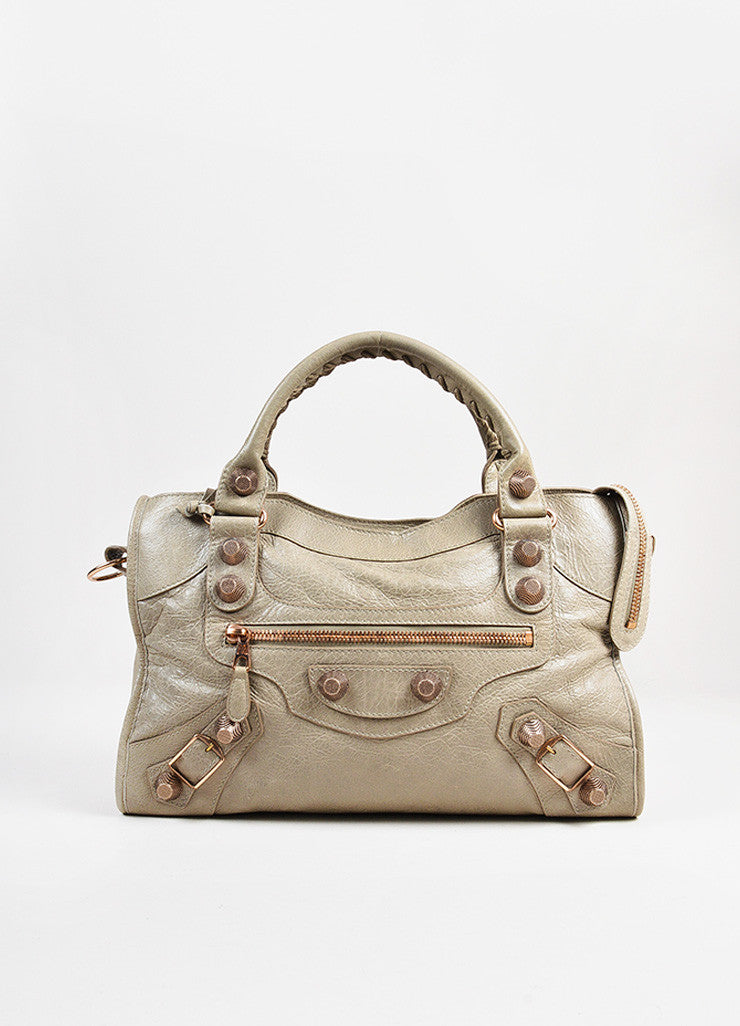 "Balenciaga ""Papyrus"" Taupe Rose Gold Toned Leather ""Giant 21 City"" Bag Frontview"