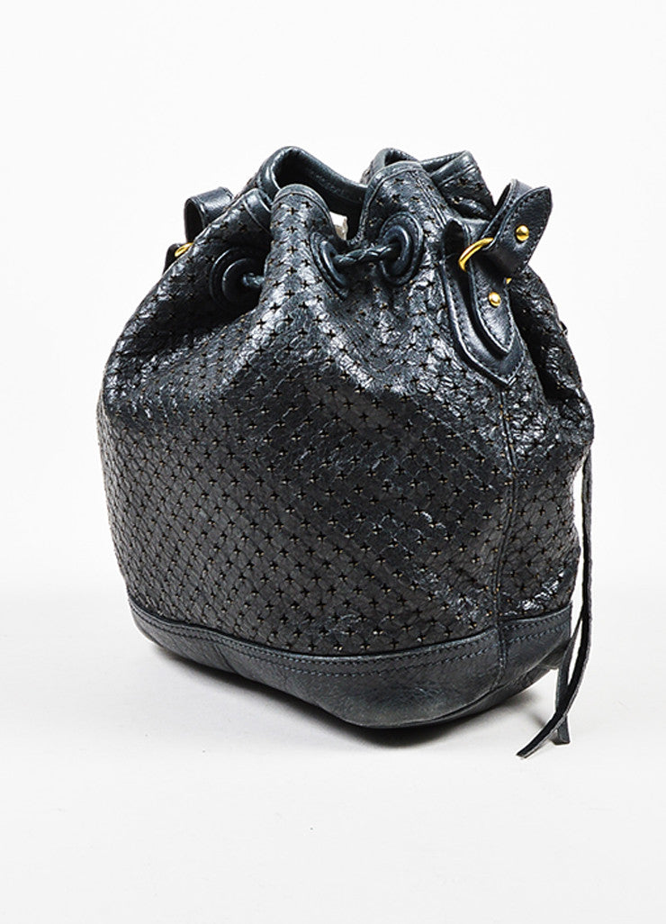 "Balenciaga Grey-Blue Leather Perforated ""Arena Cross Pampille Mini"" Bucket Bag Sideview"