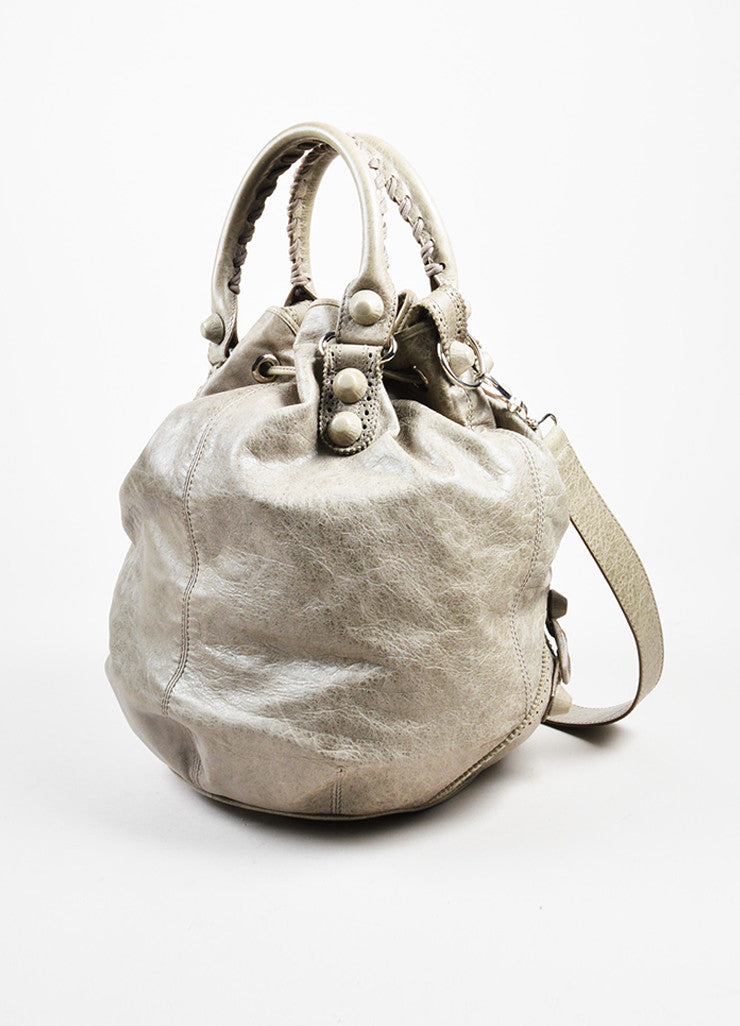 "Balenciaga Grey Taupe Lambskin Leather ""Giant Covered Brogues Pompon"" Handbag Sideview"