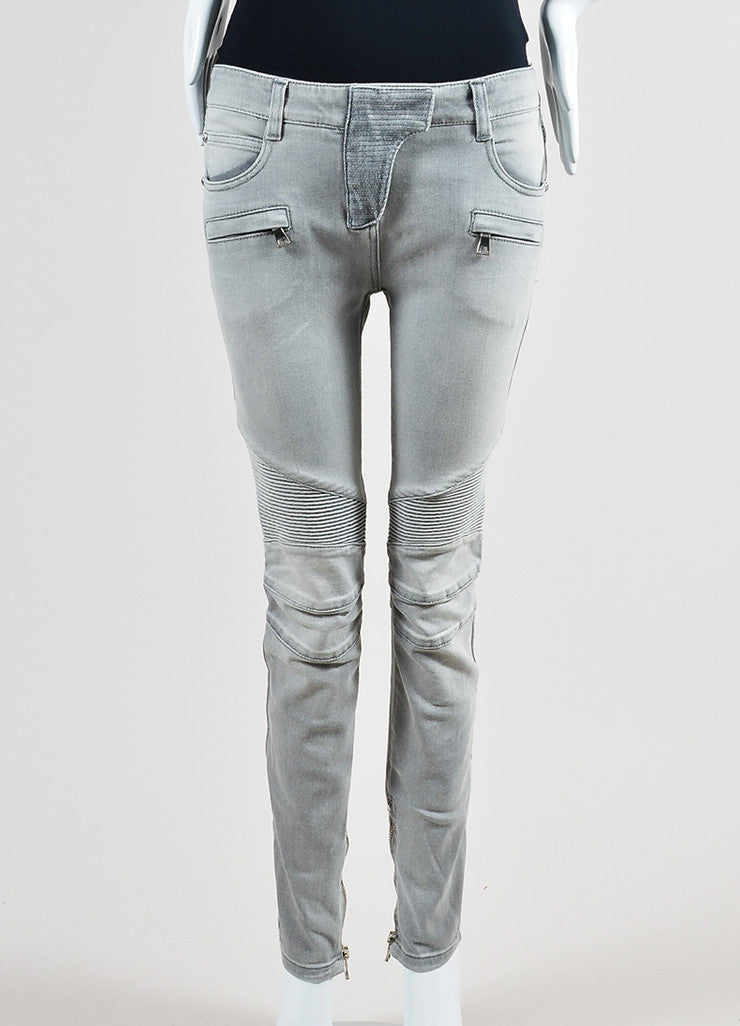 Light Grey Denim Balmain Moto Seamed Skinny Jeans Frontview